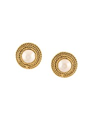 Chanel Vintage Round Pearl Clip On Earrings Metallic