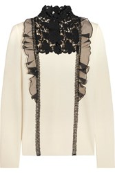 Giambattista Valli Silk Organza And Guipure Lace Trimmed Wool Sweater Ivory