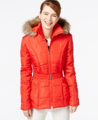 Rampage Faux Fur Trim Belted Puffer Coat Red