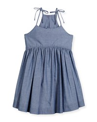 Milly Minis Sleeveless Chambray Tank Dress Denim Blue