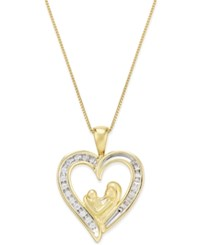 Macy's Diamond Heart Mother And Baby Pendant Necklace 1 10 Ct. T.W. In 10K Gold Yellow Gold
