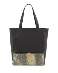 Neiman Marcus Frente Leather Snake Print Tote Black