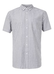 Topman Grey And White Thin Stripe Casual Shirt