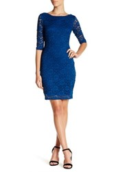 Laundry By Shelli Segal Elbow Length Sleeve Lace Dress Petite Blue