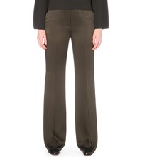 Sportmax Wide Leg Mid Rise Satin Trousers Olive Green