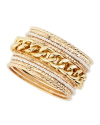 Jules Smith Designs Chain And Pearly Bead Bangles Set Of Nine Jules Smith Yellow Gold