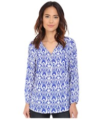 Hatley Long Sleeve Blouse Royal Ikat Women's Blouse Blue