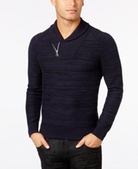 Inc International Concepts Men's Nickelby Marled Shawl Collar Sweater Only At Macy's Basic Navy
