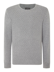 Peter Werth James Argyle Textured Crew Neck Jumper Silver Marl