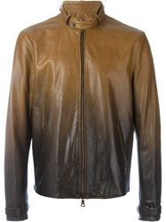 John Varvatos Gradient Leather Jacket Brown