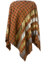 Ermanno Gallamini Tweed Poncho Yellow And Orange