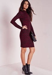 Missguided Long Sleeve Leopard Print Bodycon Dress Red Black Red