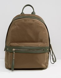 Pieces Nylon Minimal Structured Backpack In Khaki Olive Green