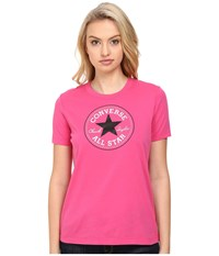 Converse Core Solid Short Sleeve Core Patch Crew Tee Vivid Pink Women's T Shirt