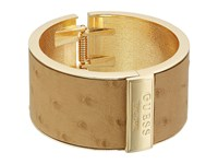 Guess Wide Hinge Faux Ostrich Logo Bangle Gold Cognac Bracelet Khaki