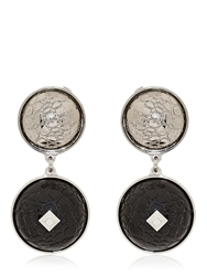 Rafida Bijoux Laser Collection Clip On Earrings Black Silver