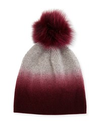 Bergdorf Goodman Ribbed Dip Dyed Cashmere Beanie Hat Burgundy