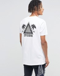 Asos Longline T Shirt With Triangle Chest And Back Print In White White