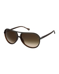 Ermenegildo Zegna Round Aviator Sunglasses Brown