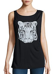 Haute Hippie Tiger Graphic Tank Top Black