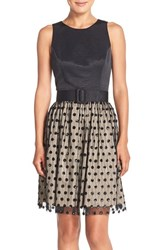 Women's Eliza J Sequin Polka Dot Fit And Flare Dress