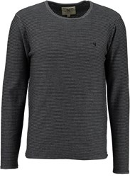Garcia Striped Cotton Jumper Charcoal