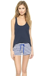 Solid And Striped Cotton Tank Top Navy