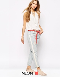 Mango Ripped Girlfriend Jeans Blue