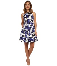 Vince Camuto Sleeveless Fit Flare Dress Navy Ivory Women's Dress Blue
