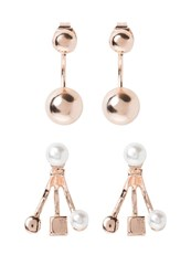Miss Selfridge 2 Pack Earrings Cream Gold