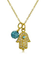 Lord And Taylor Goldtone Hamsa Hand Fireball Pendant Necklace Aqua