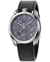 Calvin Klein Control Men's Swiss Chronograph Black Leather Strap Watch 44Mm K6z371c4