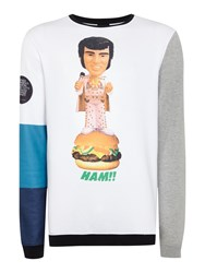 Blomor Elvis Playtoy Graphic Colour Block Jumpers White