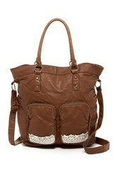 T Shirt And Jeans Crochet Embellished Tote Brown