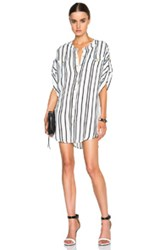 Pierre Balmain Striped Button Up Dress In White Stripes Black Blue