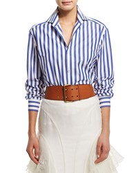 Ralph Lauren Collection Wide Striped Long Sleeve Blouse Blue White Girl's Size 2 B8 White Classic