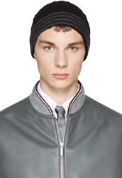 Thom Browne Black And Grey Cashmere Cableknit Beanie