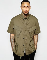 Asos Khaki Military Shirt With 4 Pockets In Half Sleeve Green
