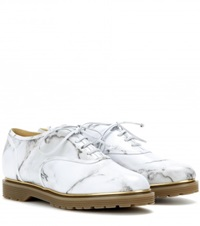 Charlotte Olympia Stefania Printed Leather Oxford Shoes White