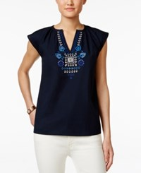 Tommy Hilfiger Embroidered Short Sleeve Top Masters Navy