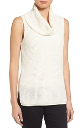 Vince Camuto Women's Two By Sleeveless Waffle Stitch Cowl Neck Sweater