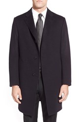 Hickey Freeman Men's Classic Fit Cashmere Topcoat Navy