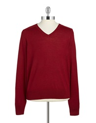 Brooks Brothers Red Fleece Merino Wool V Neck Sweater Red