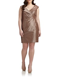 Kay Unger Sizes 14 24 Shawl Collar Taffeta Dress Coffee
