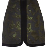 River Island Womens Dark Green Camo Jacquard Mini Skirt