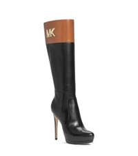 Michael Kors Hayley Leather Platform Boot Luggage Black