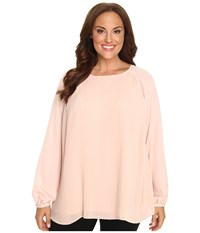 Calvin Klein Plus Size All Over Pleat Top Blush Women's Long Sleeve Pullover Pink