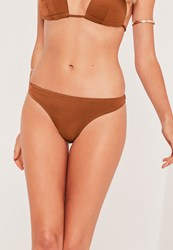 Missguided Mix And Match Super Cheeky Bikini Bottoms Brown Brown