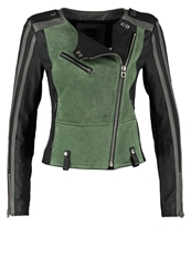 Replay Leather Jacket Green Black