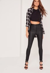 Missguided High Waisted Coated Skinny Jeans Black Black